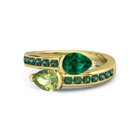 Pear Peridot 14K Yellow Gold Ring with Emerald and Alexandrite