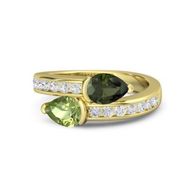 Pear Peridot 14K Yellow Gold Ring with Green Tourmaline and White Sapphire