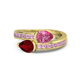 Pear Ruby 14K Yellow Gold Ring with Pink Tourmaline