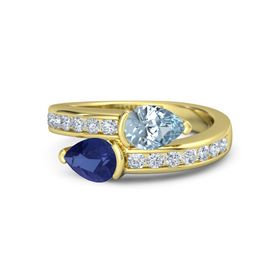 Pear Sapphire 14K Yellow Gold Ring with Aquamarine & Diamond