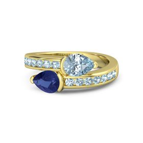 Pear Sapphire 14K Yellow Gold Ring with Aquamarine