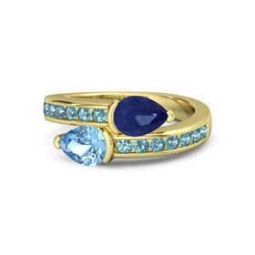 Pear Blue Topaz 14K Yellow Gold Ring with Sapphire & London Blue Topaz