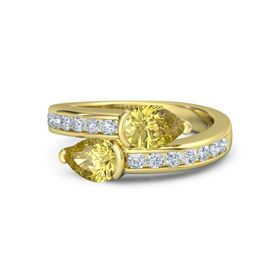 Pear Yellow Sapphire 14K Yellow Gold Ring with Yellow Sapphire and Diamond
