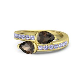 Pear Smoky Quartz 14K Yellow Gold Ring with Smoky Quartz and Tanzanite