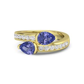 Pear Tanzanite 14K Yellow Gold Ring with Tanzanite and White Sapphire