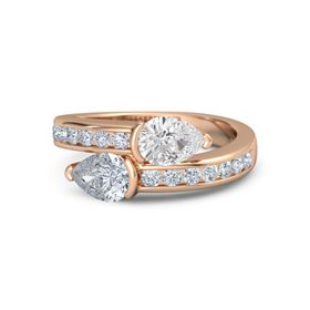 Pear Diamond 18K Rose Gold Ring with White Sapphire and Diamond