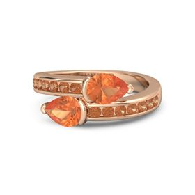 Pear Fire Opal 18K Rose Gold Ring with Fire Opal