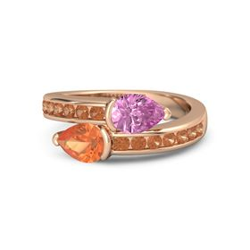 Pear Fire Opal 18K Rose Gold Ring with Pink Sapphire and Fire Opal
