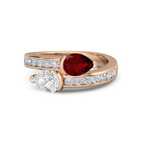 Pear White Sapphire 18K Rose Gold Ring with Ruby and Diamond