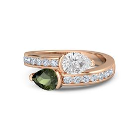 Pear Green Tourmaline 18K Rose Gold Ring with White Sapphire and Diamond