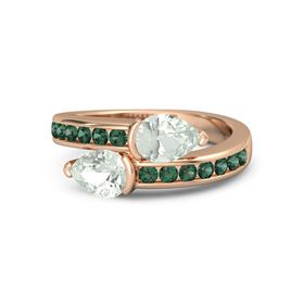 Pear Green Amethyst 18K Rose Gold Ring with Green Amethyst & Alexandrite