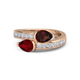 Pear Ruby 18K Rose Gold Ring with Red Garnet and Diamond