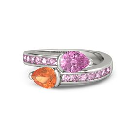 Pear Fire Opal 18K White Gold Ring with Pink Sapphire