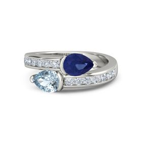 Pear Aquamarine 18K White Gold Ring with Blue Sapphire and Diamond