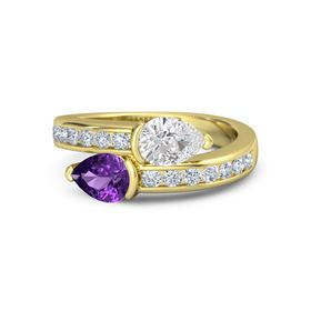 Pear Amethyst 18K Yellow Gold Ring with White Sapphire and Diamond