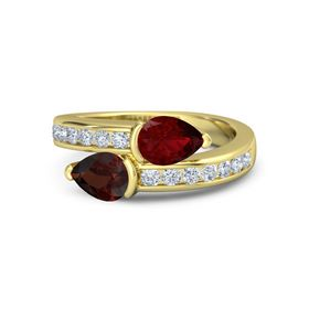 Pear Red Garnet 18K Yellow Gold Ring with Ruby and Diamond