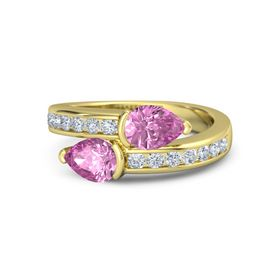 Pear Pink Sapphire 18K Yellow Gold Ring with Pink Sapphire and Diamond