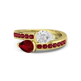 Pear Ruby 18K Yellow Gold Ring with White Sapphire and Ruby