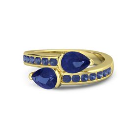 Pear Blue Sapphire 18K Yellow Gold Ring with Blue Sapphire