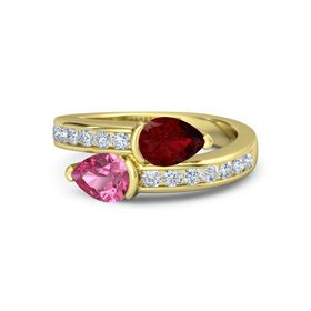 Pear Pink Tourmaline 18K Yellow Gold Ring with Ruby and Diamond