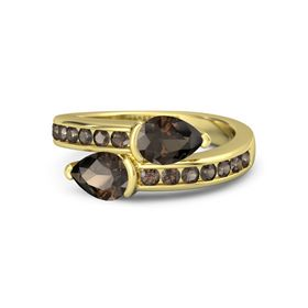 Pear Smoky Quartz 18K Yellow Gold Ring with Smoky Quartz