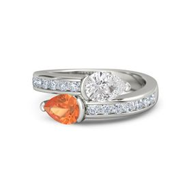 Pear Fire Opal Palladium Ring with White Sapphire and Diamond