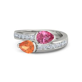 Pear Fire Opal Palladium Ring with Pink Tourmaline and Diamond