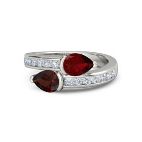 Pear Red Garnet Palladium Ring with Ruby and Diamond