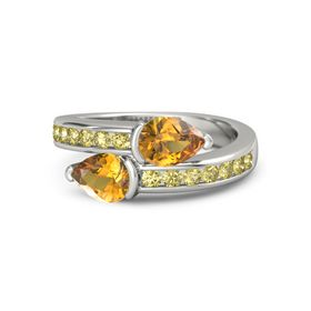 Pear Citrine Palladium Ring with Citrine and Yellow Sapphire