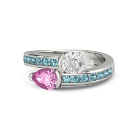 Pear Pink Sapphire Palladium Ring with White Sapphire & London Blue Topaz
