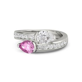 Pear Pink Sapphire Palladium Ring with White Sapphire