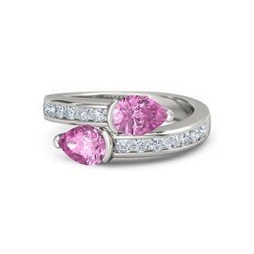 Pear Pink Sapphire Palladium Ring with Pink Sapphire and Diamond