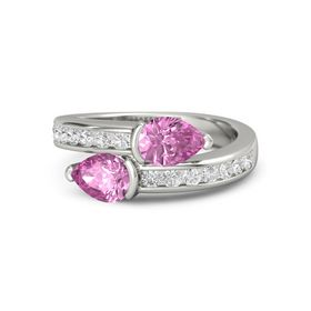Pear Pink Sapphire Palladium Ring with Pink Sapphire and White Sapphire