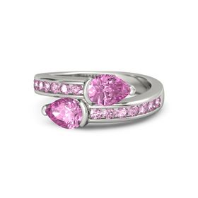 Pear Pink Sapphire Palladium Ring with Pink Sapphire