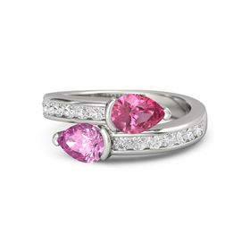 Pear Pink Sapphire Palladium Ring with Pink Tourmaline and White Sapphire