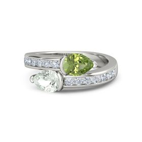Pear Green Amethyst Palladium Ring with Peridot and Diamond