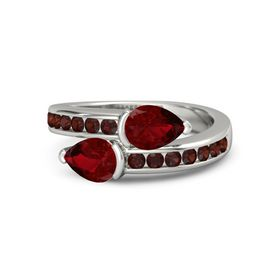 Pear Ruby Palladium Ring with Ruby and Red Garnet