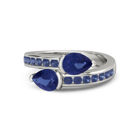 Pear Blue Sapphire Palladium Ring with Blue Sapphire