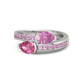 Pear Pink Tourmaline Palladium Ring with Pink Sapphire and Pink Tourmaline