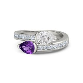 Pear Amethyst Platinum Ring with White Sapphire and Diamond