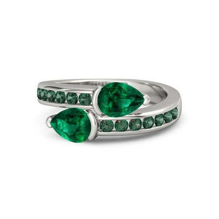 pear emerald platinum ring with emerald and alexandrite