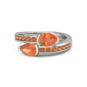 Pear Fire Opal Platinum Ring with Fire Opal