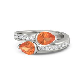 Pear Fire Opal Platinum Ring with Fire Opal and White Sapphire