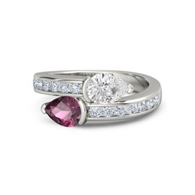 Pear Rhodolite Garnet Platinum Ring with White Sapphire and Diamond
