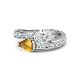 Pear Citrine Platinum Ring with White Sapphire and Diamond