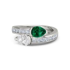 Pear White Sapphire Platinum Ring with Emerald & Diamond