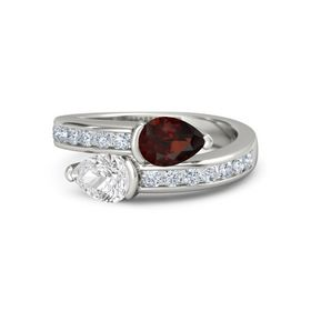 Pear White Sapphire Platinum Ring with Red Garnet and Diamond