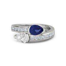 Pear White Sapphire Platinum Ring with Blue Sapphire and Diamond
