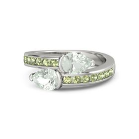 Pear Green Amethyst Platinum Ring with Green Amethyst and Peridot