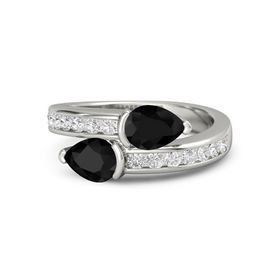 Pear Black Onyx Platinum Ring with Black Onyx and White Sapphire